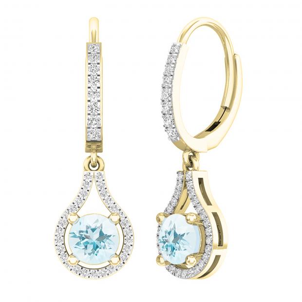 18K Yellow Gold 5.5 MM Each Round Cut Aquamarine & White Diamond Ladies Dangling Drop Earrings