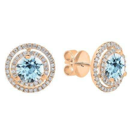 18K Rose Gold 6 MM Each Round Cut Aquamarine & White Diamond Ladies Double Halo Stud Earrings