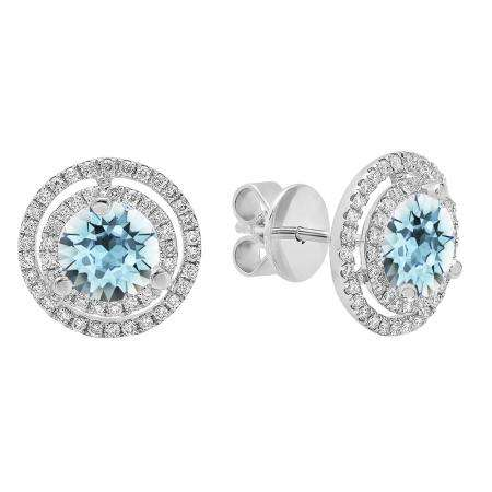 18K White Gold 6 MM Each Round Cut Aquamarine & White Diamond Ladies Double Halo Stud Earrings