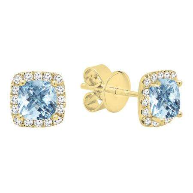 10K Yellow Gold Each 4 MM Cushion Cut Aquamarine & Round White Diamond Ladies Halo Stud Earrings