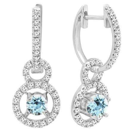 10K White Gold 4.5 MM Round Cut Aquamarine & White Diamond Ladies Halo Style Dangling Drop Earrings
