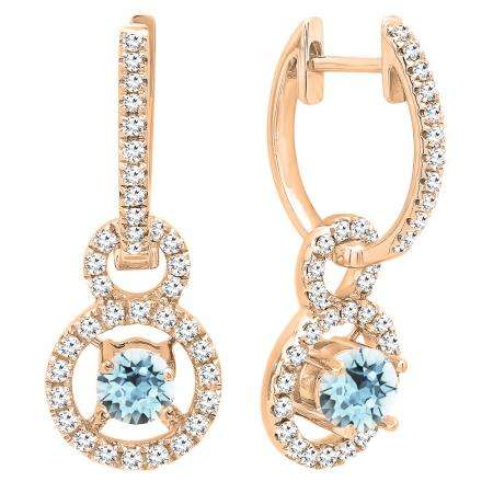 14K Rose Gold 4.5 MM Round Cut Aquamarine & White Diamond Ladies Halo Style Dangling Drop Earrings