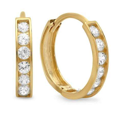 14K Yellow Gold Round Cut White Cubic Zirconia CZ Ladies Huggie Hoop Earrings (2.3 mm Width x 12 mm Length)