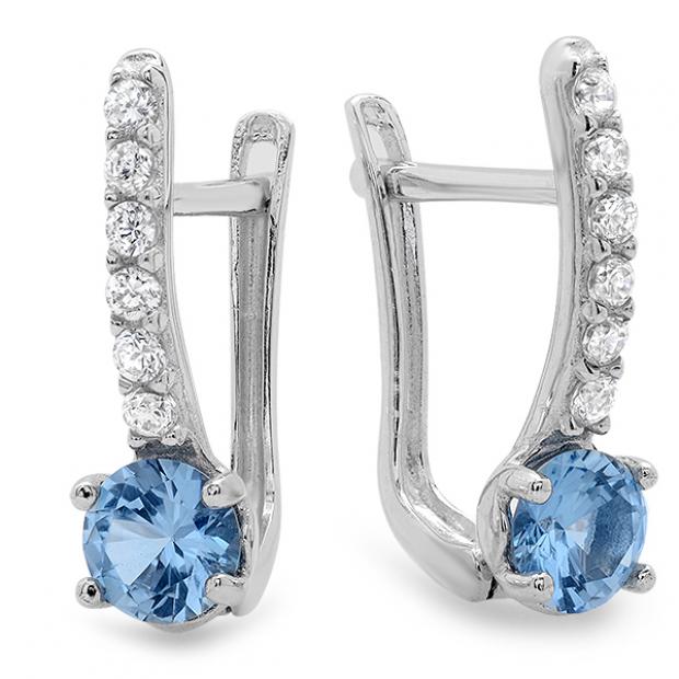 14K White Gold Blue Topaz & White Round White CZ Cubic Zirconia Ladies Flower Design Huggie Hoop Earrings