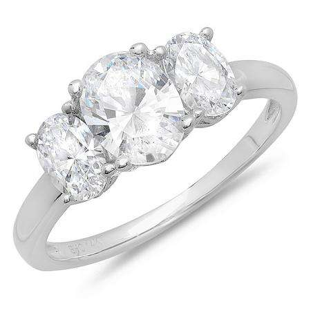 2.00 Carat (ctw) 14K White Gold Oval Cubic Zirconia 3 Stone Ladies Engagement Ring
