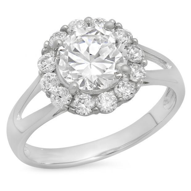 2.33 Carat (ctw) 14K White Gold Round White Cubic Zirconia CZ Ladies Halo Style Wedding Bridal Engagement Ring