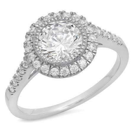 1.85 Carat (ctw) 14K White Gold Round Cut White Cubic Zirconia CZ Ladies Engagement Bridal Halo Ring
