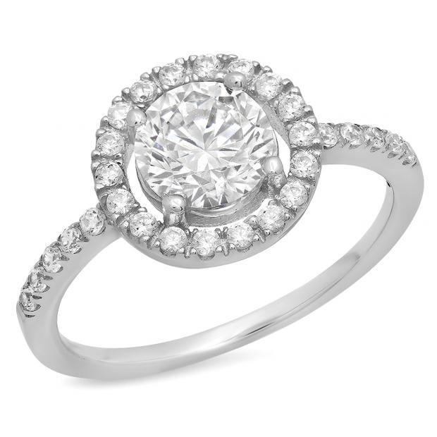 1.85 Carat (ctw) 14K White Gold Round Cut White Cubic Zirconia CZ Ladies Engagement Bridal Halo Ring