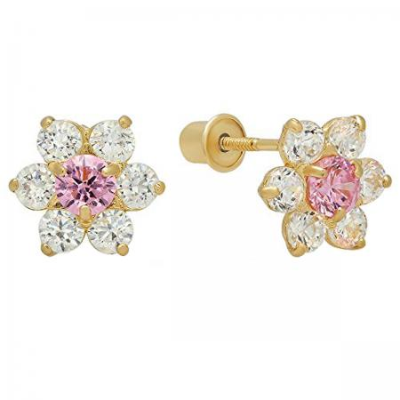 0.25 Carat (ctw) 14K Yellow Gold Round Cut Pink & White Cubic Zirconia Cluster Baby Stud Earrings 1/4
