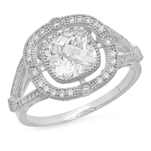 1.75 Carat (Ctw) 14K White Gold Cushion & Round White Cubic Zirconia CZ Ladies Bridal Millgrain Halo Split Shank Engagement Ring