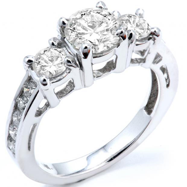 2.55 Carat (ctw) 14k White Gold Round Diamond Ladies Bridal Engagement Ring