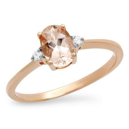 0.67 Carat (ctw) 10K Rose Gold Oval Cut Morganite & Round White Diamond Ladies Bridal Promise Engagement Ring