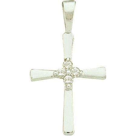 0.05 Carat (ctw) 10k White Gold Round Diamond Ladies Cross Pendant