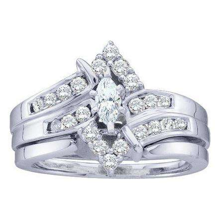 0.50 Carat (ctw) 14k White Gold Round & Marquise Cut White Diamond Ladies Bridal Engagement Ring Set