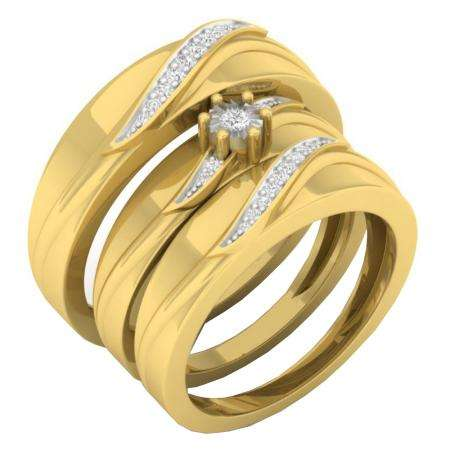 0.15 Carat (ctw) 10K Yellow Gold Round White Diamond Men & Women