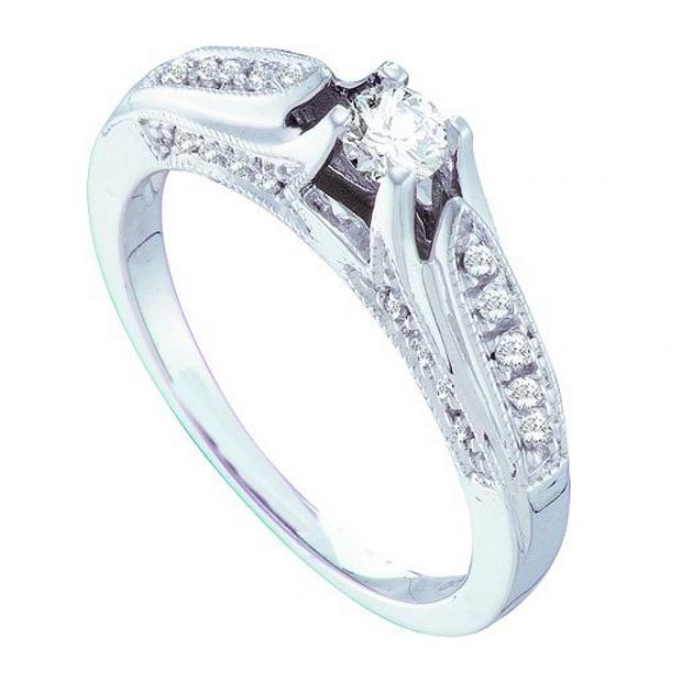 0.33 Carat (ctw) 14k White Gold Brilliant White Diamond Ladies Bridal Engagement Ring