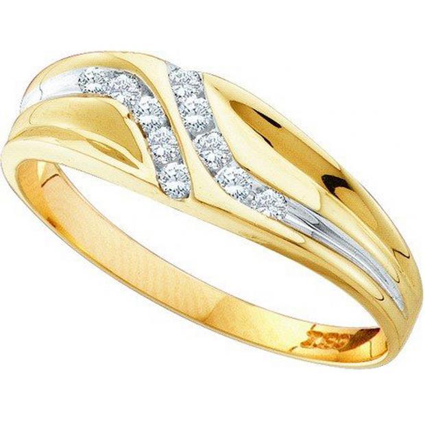 0.12 Carat (ctw) 10K Yellow Gold Round Cut Diamond Mens Channel Set Fashion Wedding Band