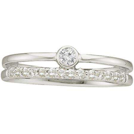 0.20 Carat (ctw) 14k White Gold Round White Diamond Ladies Bridal Engagement Ring Set