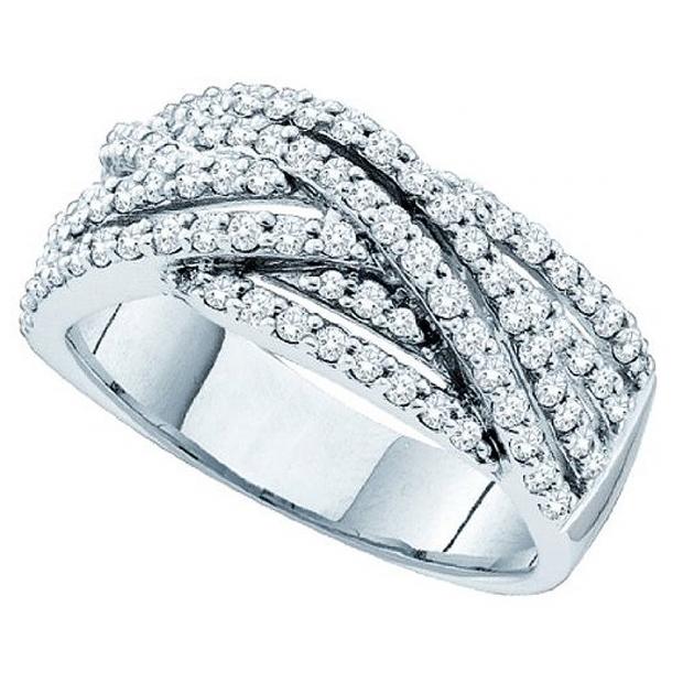 0.88 Carat (ctw) 14k White Gold Round White Diamond Ladies Anniversary Wedding Band