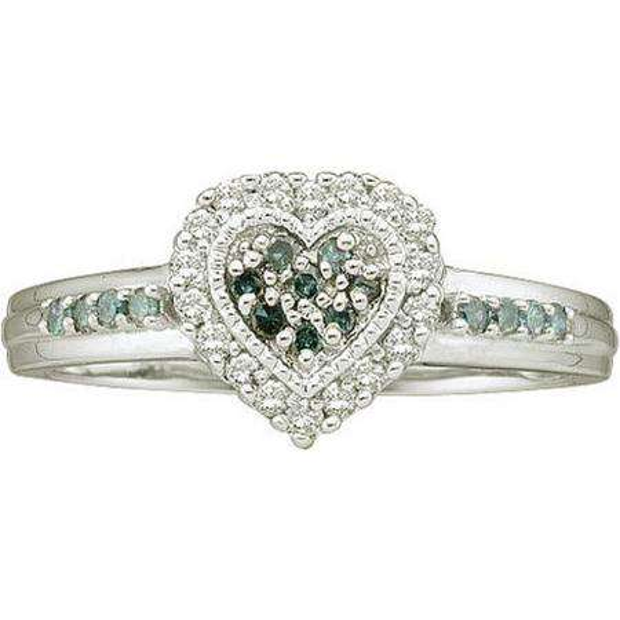 0.25 Carat (ctw) 14k White Gold Blue & White Diamond Ladies Bridal Promise Heart Engagement Ring