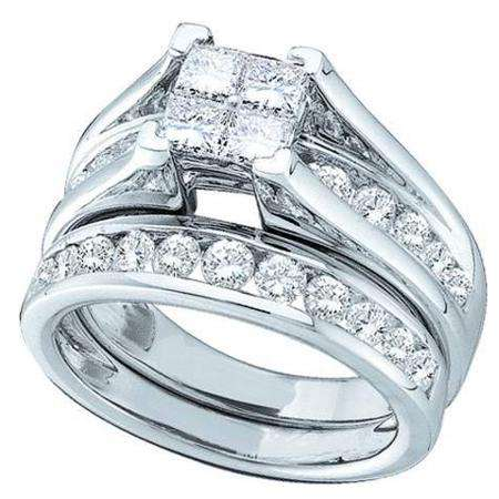 1.00 Carat (ctw) 14k White Gold Princess & Round Diamond Ladies Bridal Engagement Ring Matching Band Set