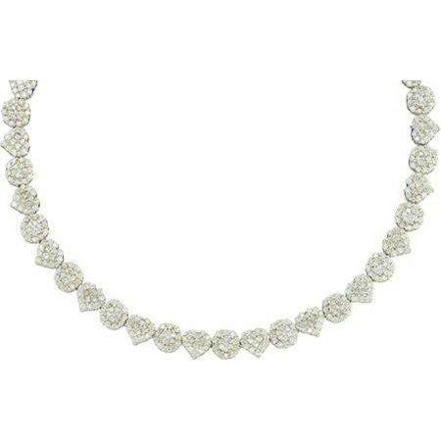 7.50 Carat (ctw) 14k White Gold Brilliant Round White Diamond Ladies Fash Necklace