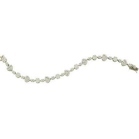 4.75 Carat (ctw) 14k White Gold Round White Diamond Ladies Flower Bracelet