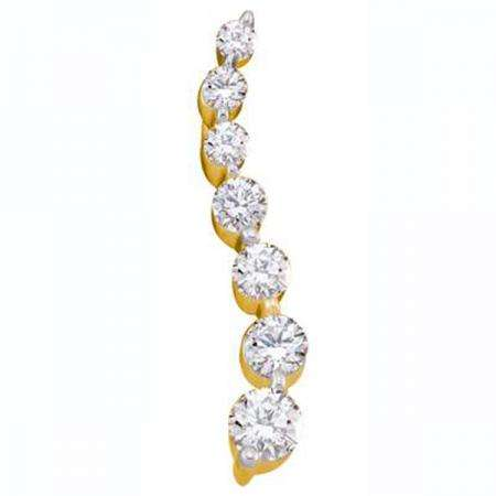 0.25 Carat (ctw) 14K Yellow Gold Round White Diamond Ladies 7 Stone Journey Pendant 1/4 CT