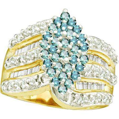 1.00 Carat (ctw) 10k Yellow Gold Round & Baguette Cut Blue & White Diamond Ladies Right Hand Cluster Ring