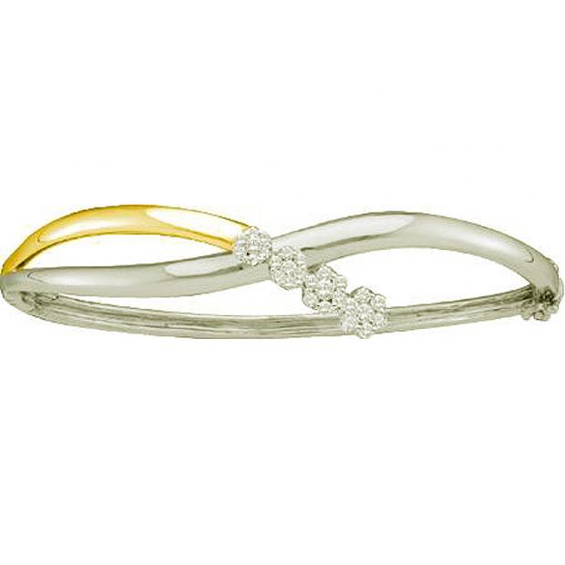 0.50 Carat (ctw) 14k Yellow Gold Round White Diamond Ladies Two Tone Flower Bangle Bracelet