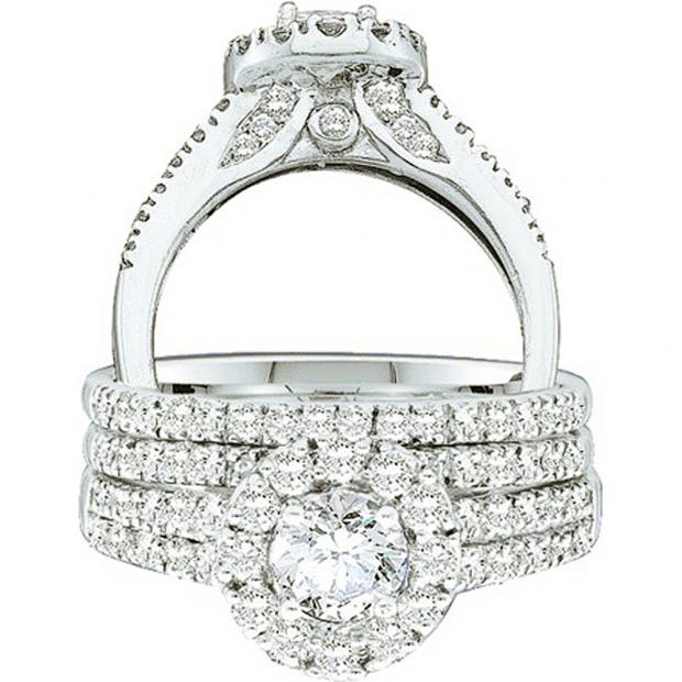 1.26 Carat (ctw) 14k White Gold Round Cut White Diamond Ladies Halo Bridal Engagement Ring Set