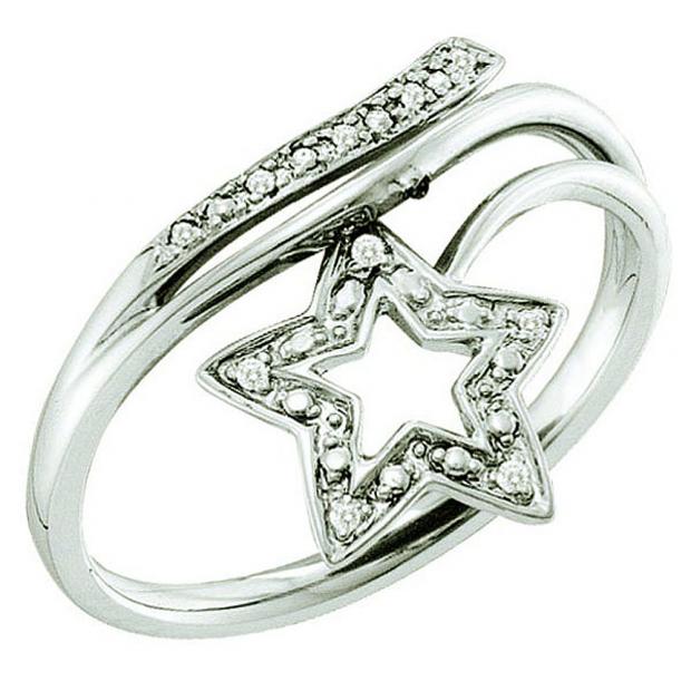 0.03 Carat (ctw) 10k White Gold Round White Diamond Ladies Cluster Star Ring