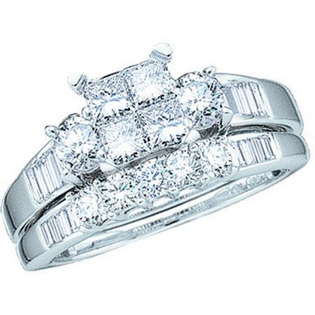 1.00 Carat (ctw) 10k White Gold Princess Baguette & Round Diamond Ladies Bridal Engagement Ring Set with Matching Band