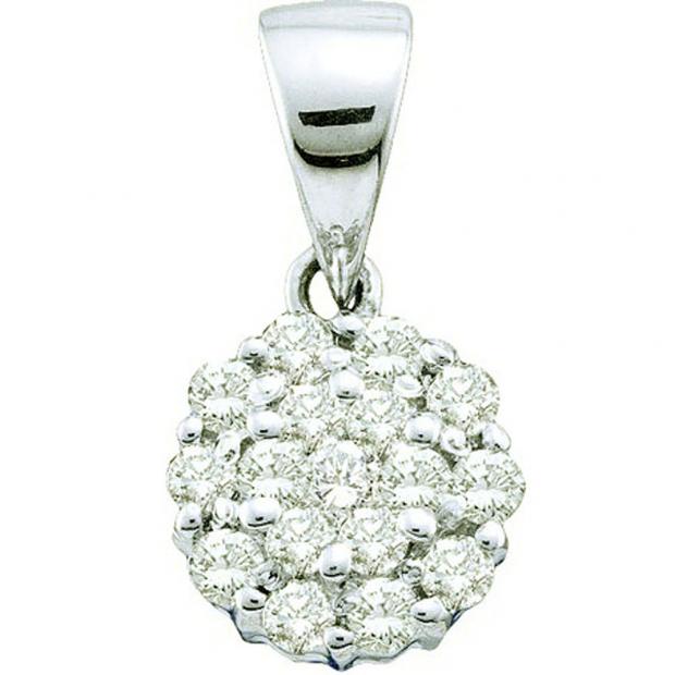0.25 Carat (ctw) 14k White Gold Brilliant White Diamond Ladies Flower Pendant