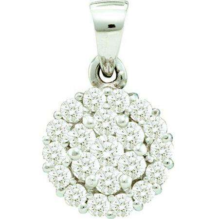 0.50 Carat (ctw) 14k White Gold Brilliant White Diamond Ladies Cluster Flower Pendant