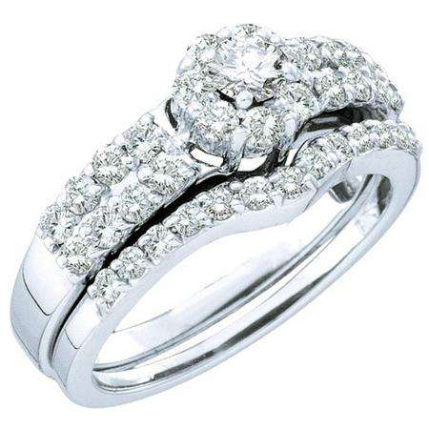 1.13 Carat (ctw) 14k White Gold Round White Diamond Ladies Bridal Engagement Ring Set