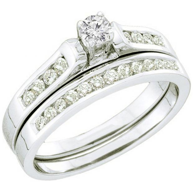 0.50 Carat (ctw) 14k White Gold Round White Diamond Ladies Bridal Engagement Ring Set