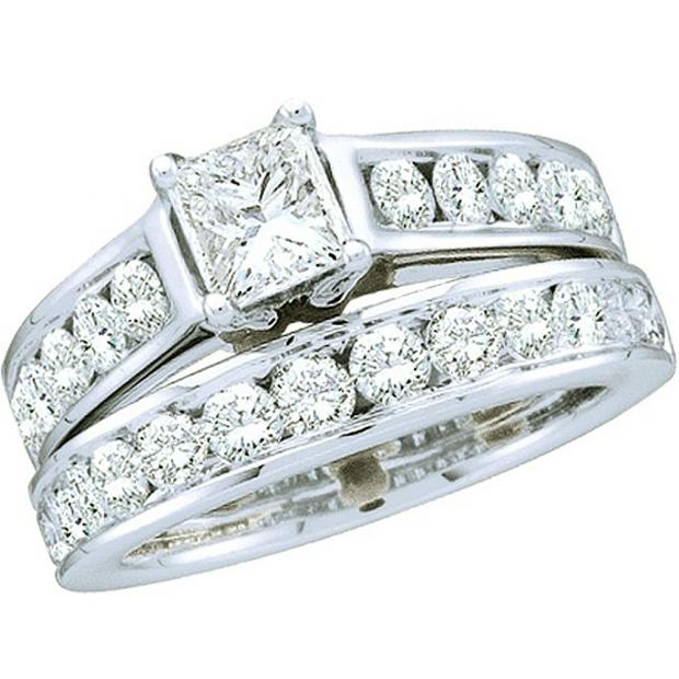 2.00 Carat (ctw) 14k White Gold Brilliant Round & Princess Cut White Diamond Ladies Bridal Engagement Ring Set