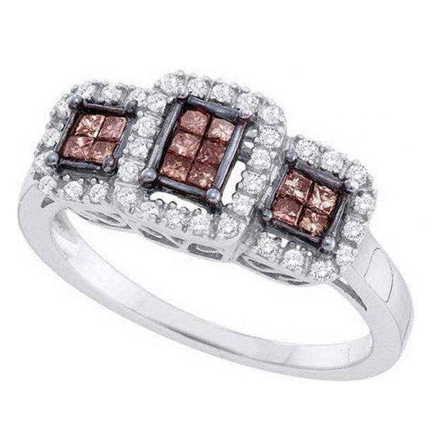 0.40 Carat (ctw) 14k White Gold Champagne & White Diamond Bridal Engagement Invisible Ring