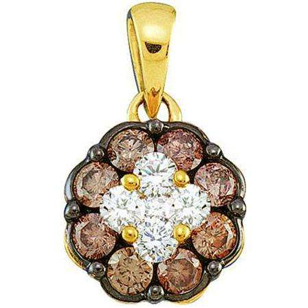 0.50 Carat (ctw) 14k Yellow Gold Round Brown & White Diamond Ladies Cluster Flower Pendant