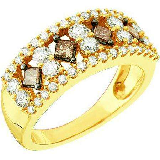 1.25 Carat (ctw) 14k Yellow Gold Round & Princess Cut White & Brown Diamond Ladies Cocktail Right Hand Band
