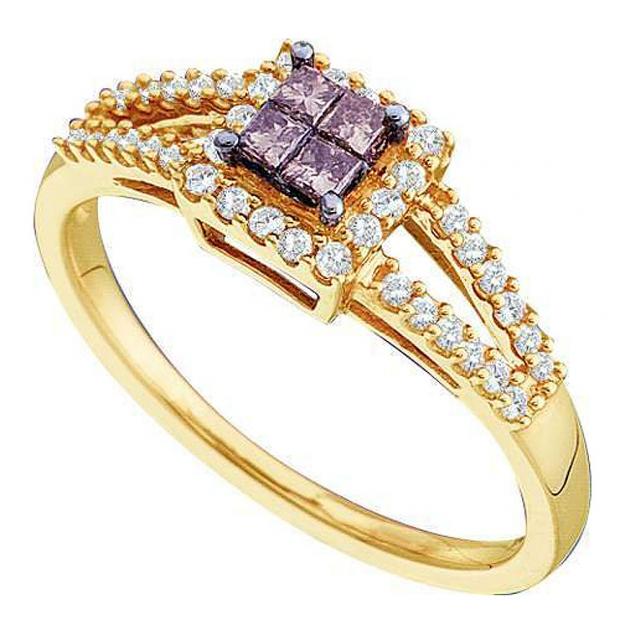 0.33 Carat (ctw) 14k Yellow Gold Round Champagne & White Diamond Ladies Split Shank Invisible Engagement Ring