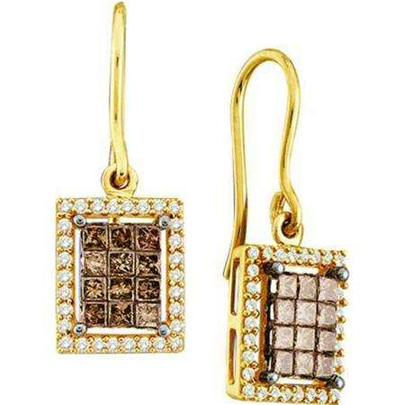 1.00 Carat (ctw) 14k Yellow Gold Round & Princess Cut Brown & White Diamond Ladies Invisible Drop Earrings