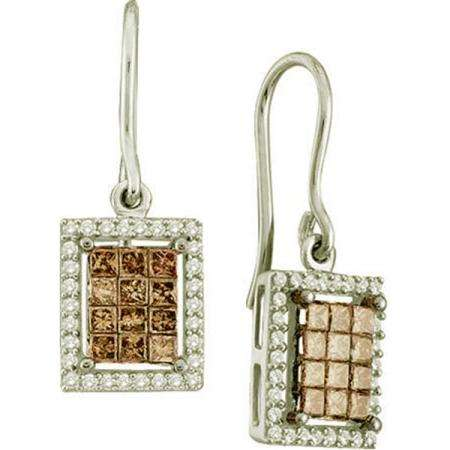 1.00 Carat (ctw) 14k White Gold Round & Princess Cut Brown & White Diamond Ladies Invisible Drop Earrings