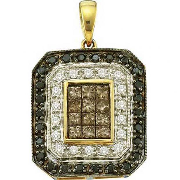 0.75 Carat (ctw) 14k Yellow Gold Princess & Round Black Brown & White Diamond Ladies Invisible Pendant