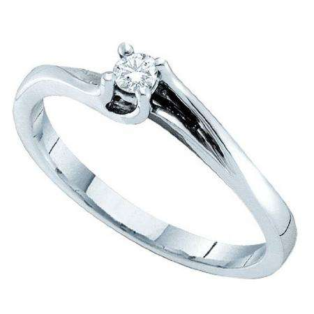 0.09 CT 14k White Gold Round Diamond Solitaire Bridal Engagement Set