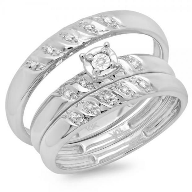 0.08 Carat (ctw) 10K White Gold Round Cut White Diamond Men & Women