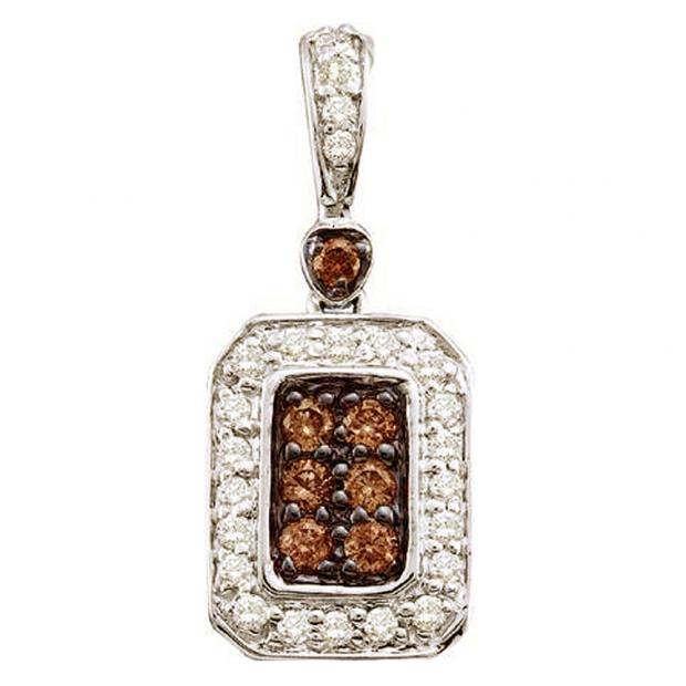 0.26 Carat (ctw) 14k White Gold Round Brown & White Diamond Ladies Pendant