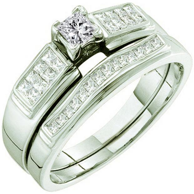 0.50 Carat (ctw) 14k White Gold Princess Cut White Diamond Ladies Bridal Engagement Ring Set