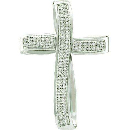 0.25 Carat (ctw) 10k White Gold Brilliant White Diamond Ladies Cross Pendant